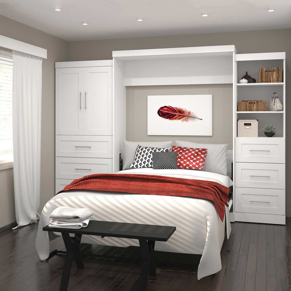 Boutique Queen Wall Bed With One 36 Storage Unit Drawers And Door 25 In White