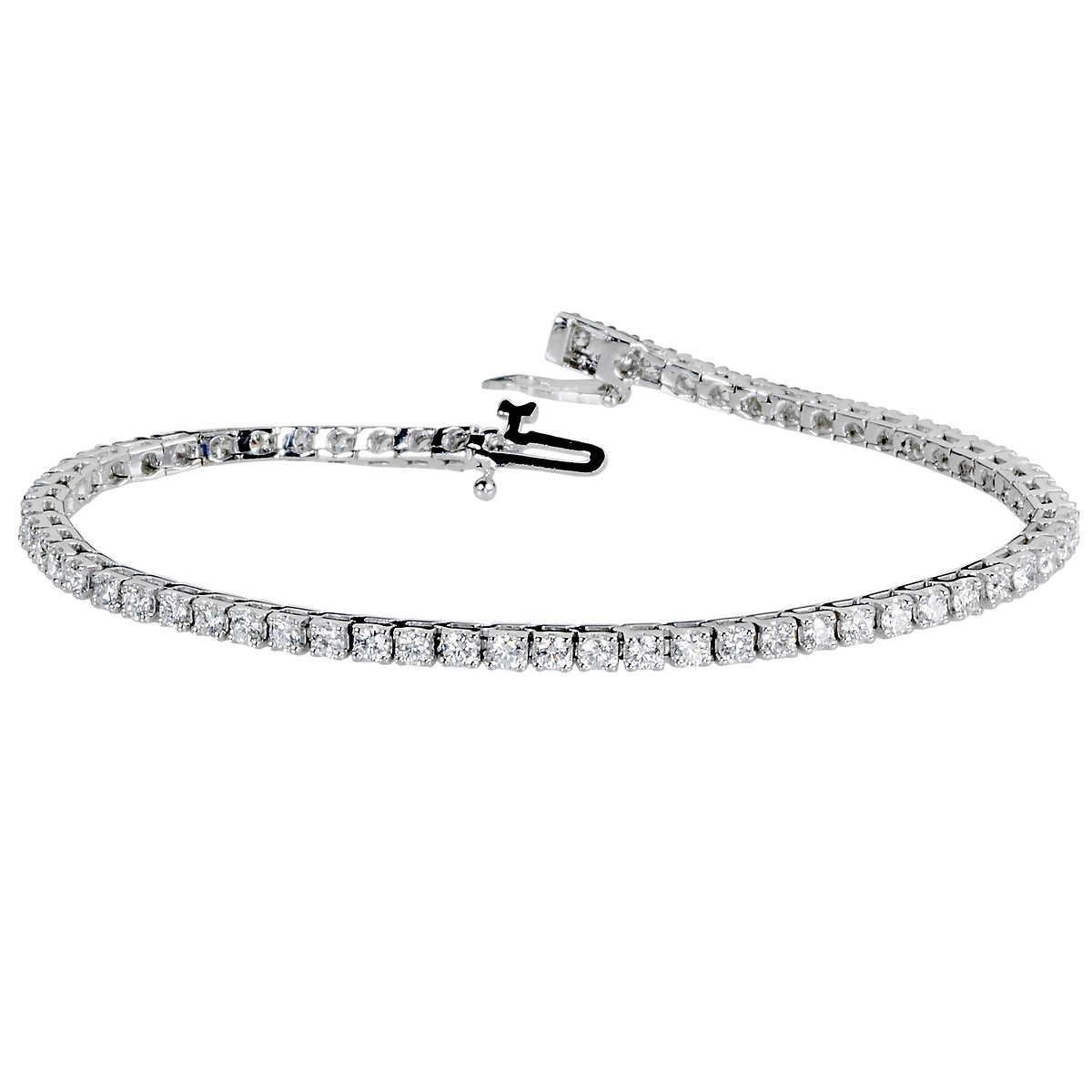 3372089ae ... Round Brilliant 3.00 ctw VS2 Clarity, I Color Diamond 14kt White Gold  Bracelet. 1 1