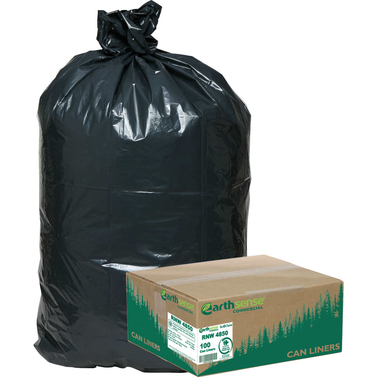 Earthsense Recycled Star Bottom Trash Bags 40 45 Gal Black 100 Count