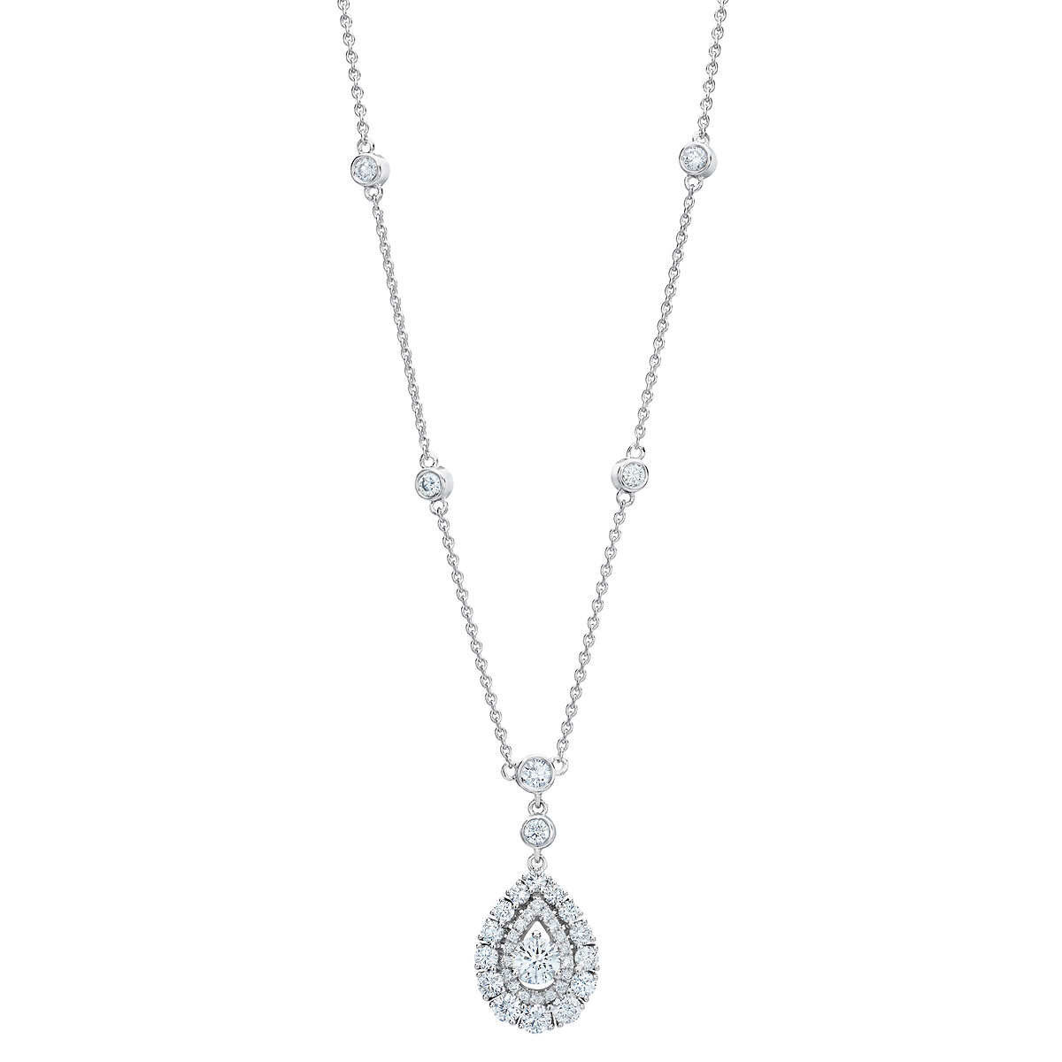 Round Brilliant 1 30 ctw VS2 Clarity, I Color Diamond 14kt White Gold Tear  Drop Necklace