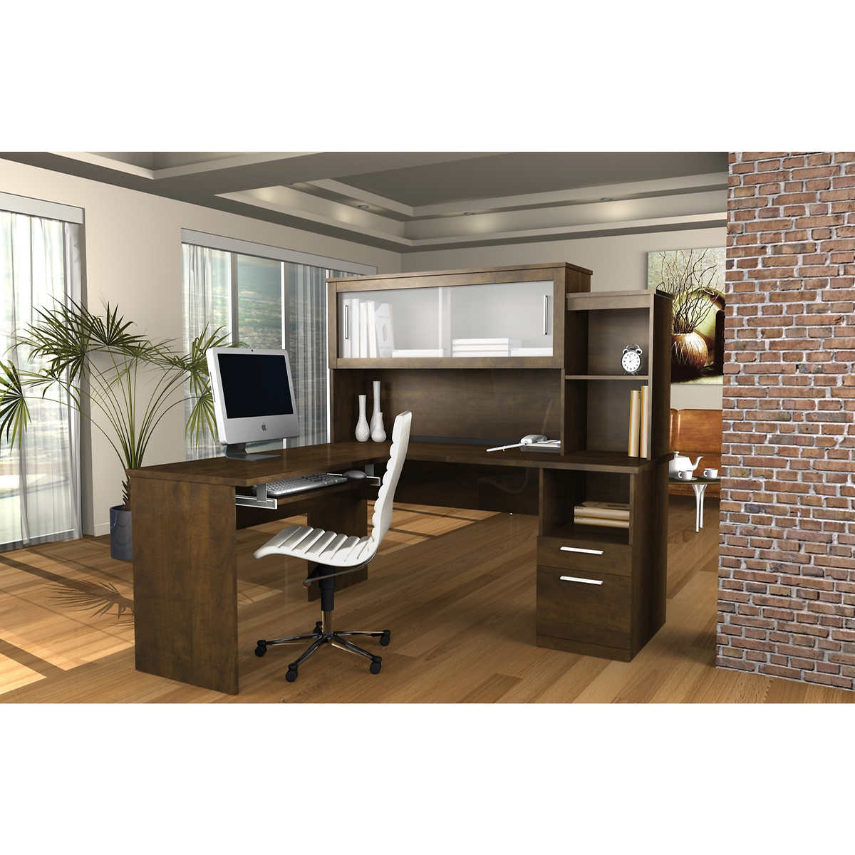 Peachy Sutton L Shape Desk With Hutch Home Interior And Landscaping Ologienasavecom