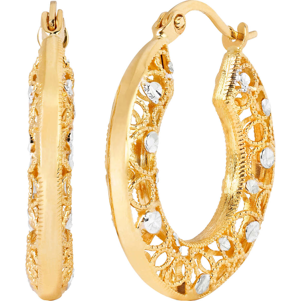 14kt Two Tone Gold Diamond Cut Hoop Earrings Item #458641 Click To Zoom
