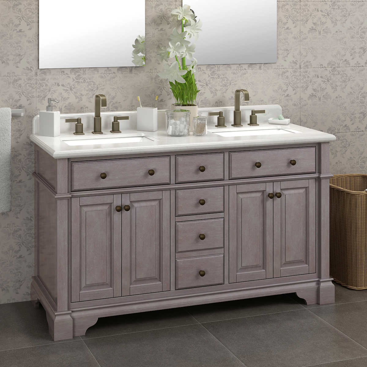 ... Antique Gray Double Sink Vanity by Lanza. Item #461623. 1 1 - Casanova 60