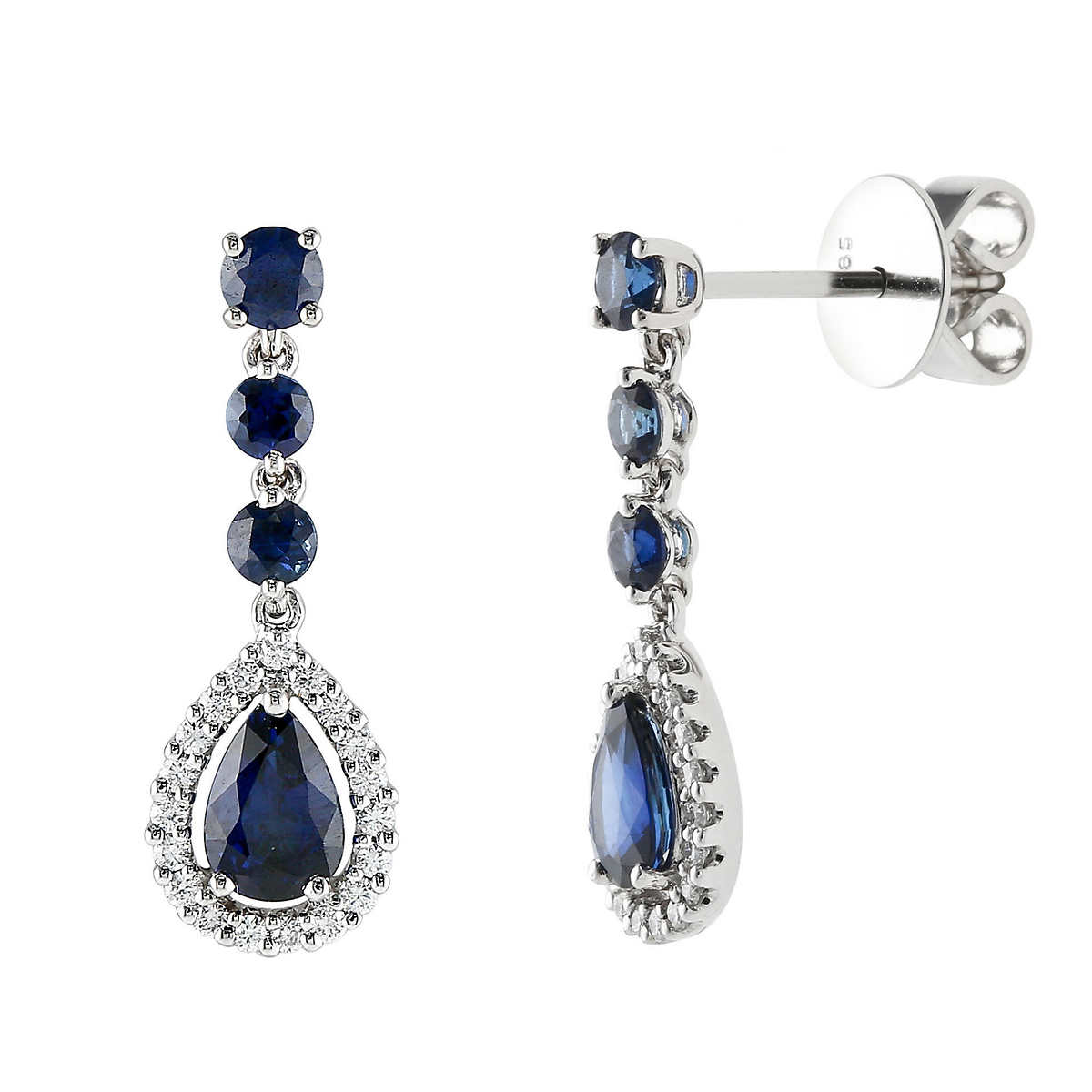 Diamond & Blue Sapphire Drop Earrings 14kt White Gold