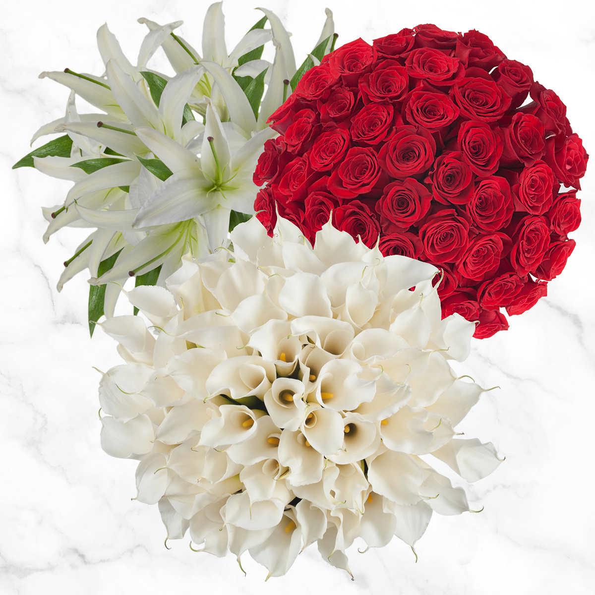 Home bulk roses peach roses - Combo Box Calla Lilies Roses Oriental Lilies