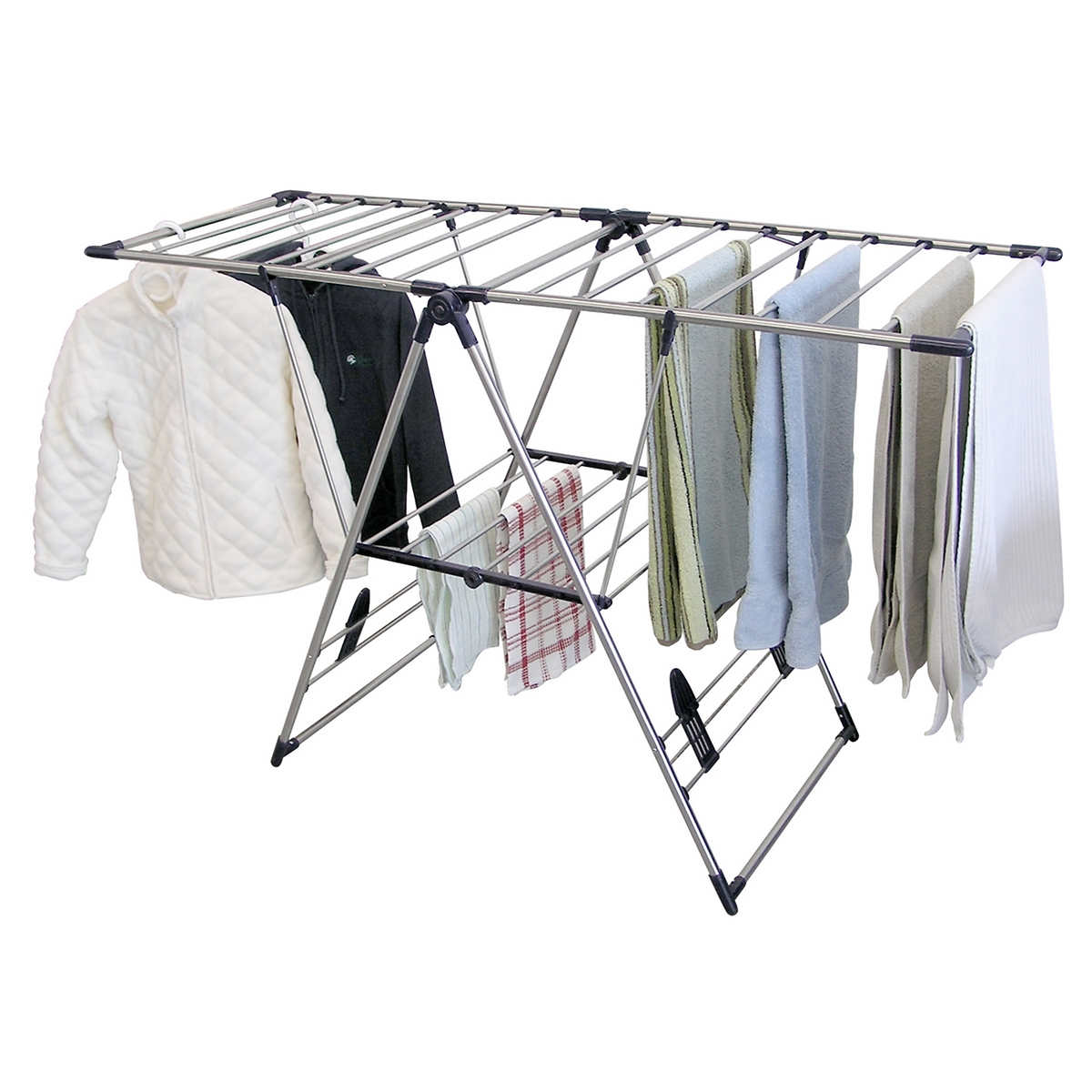 Neatfreak laundry drying rack compact cleaning amp organizing for - Greenway Home Products X Large Stainless Steel Fold Away Laundry Rack