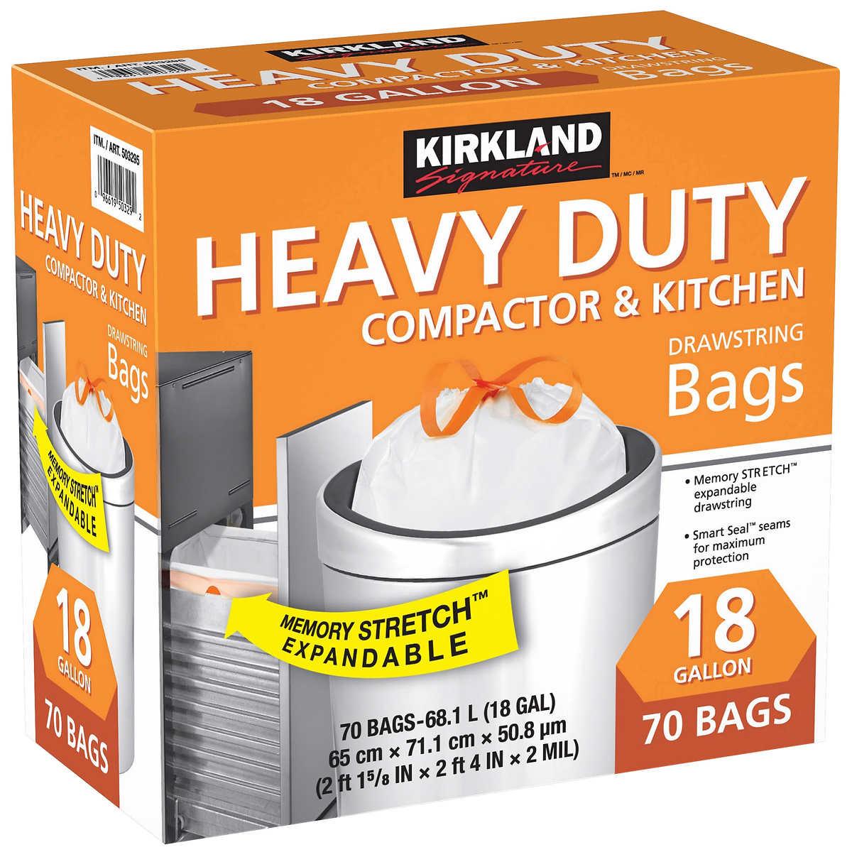 Kirkland Signature 18 Gallon Compactor Kitchen Trash Bag 70 Count