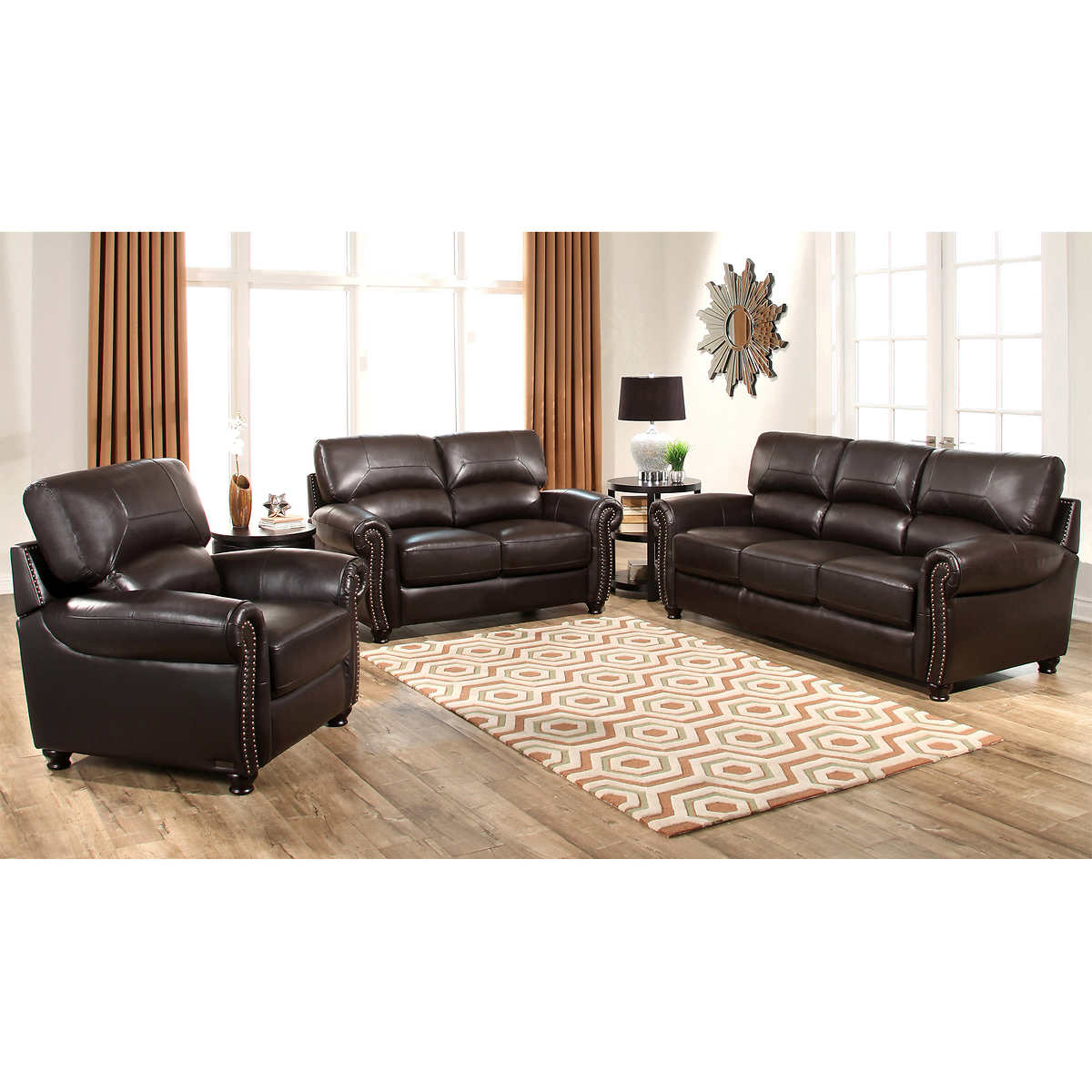 Tuscany Leather Sofa Set Abbyson Tuscan Top Grain Leather Chesterfield 2 Piece Living Room Thesofa