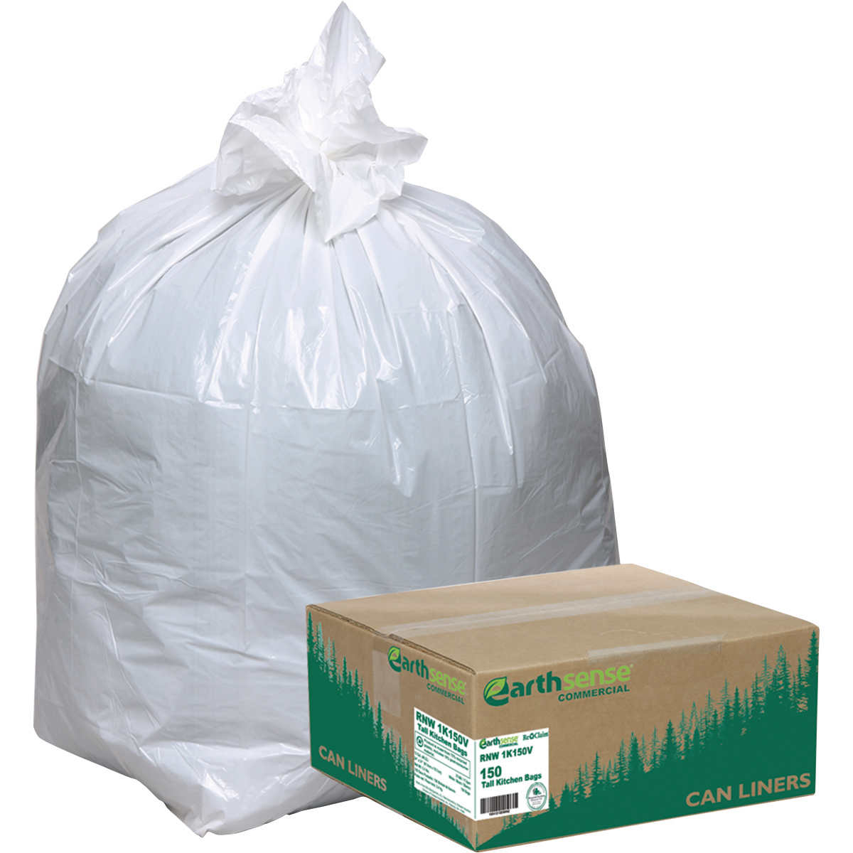 Earthsense Recycled Star Bottom Tall Kitchen Bags, .85mil, 13gal ...