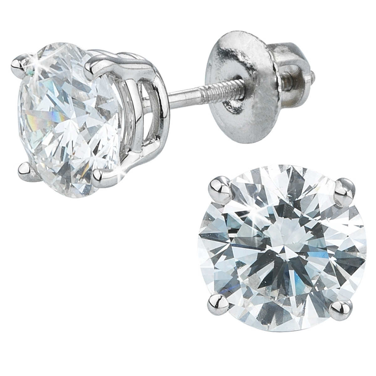 Round Brilliant 180 Ctw Vs2 Clarity, I Color Diamond 14kt White Gold  Screwback Stud Earrings