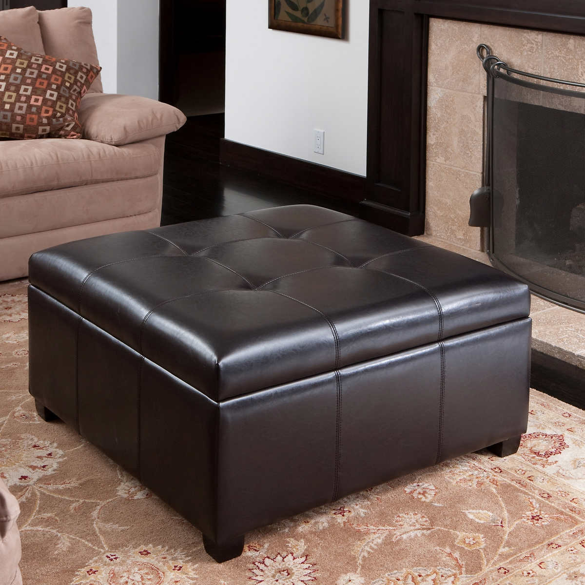 Canyons Bonded Leather Storage Ottoman - Ottomans & Benches Costco