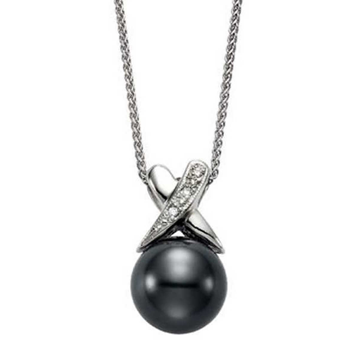 Tahitian 10 Mm Cultured Pearl & Diamond 14kt White Gold Necklace