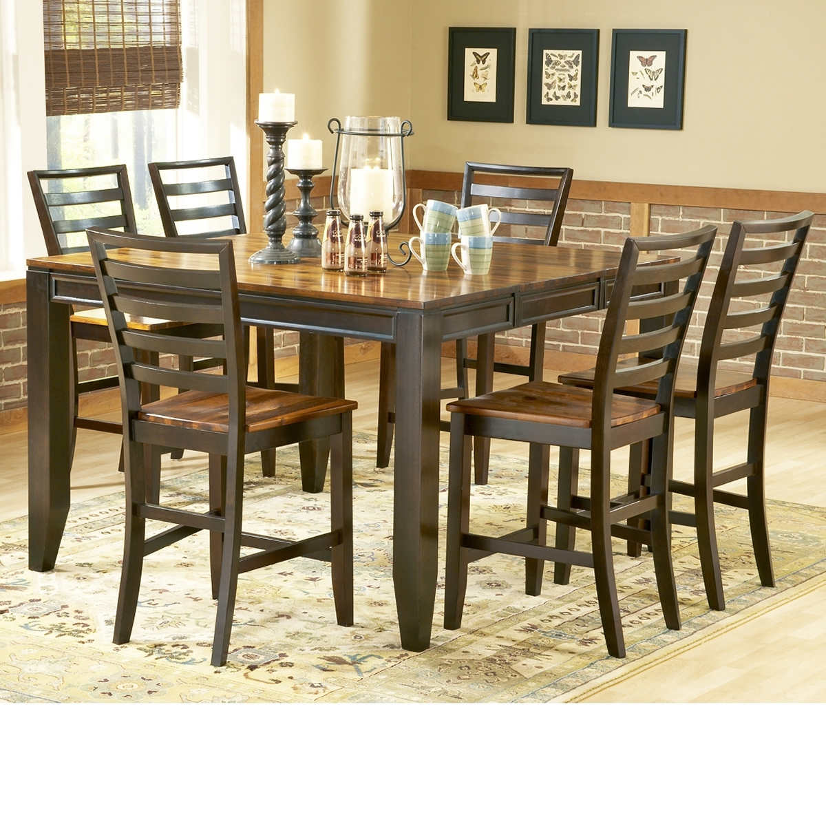 7 piece counter height dining set harrison brown