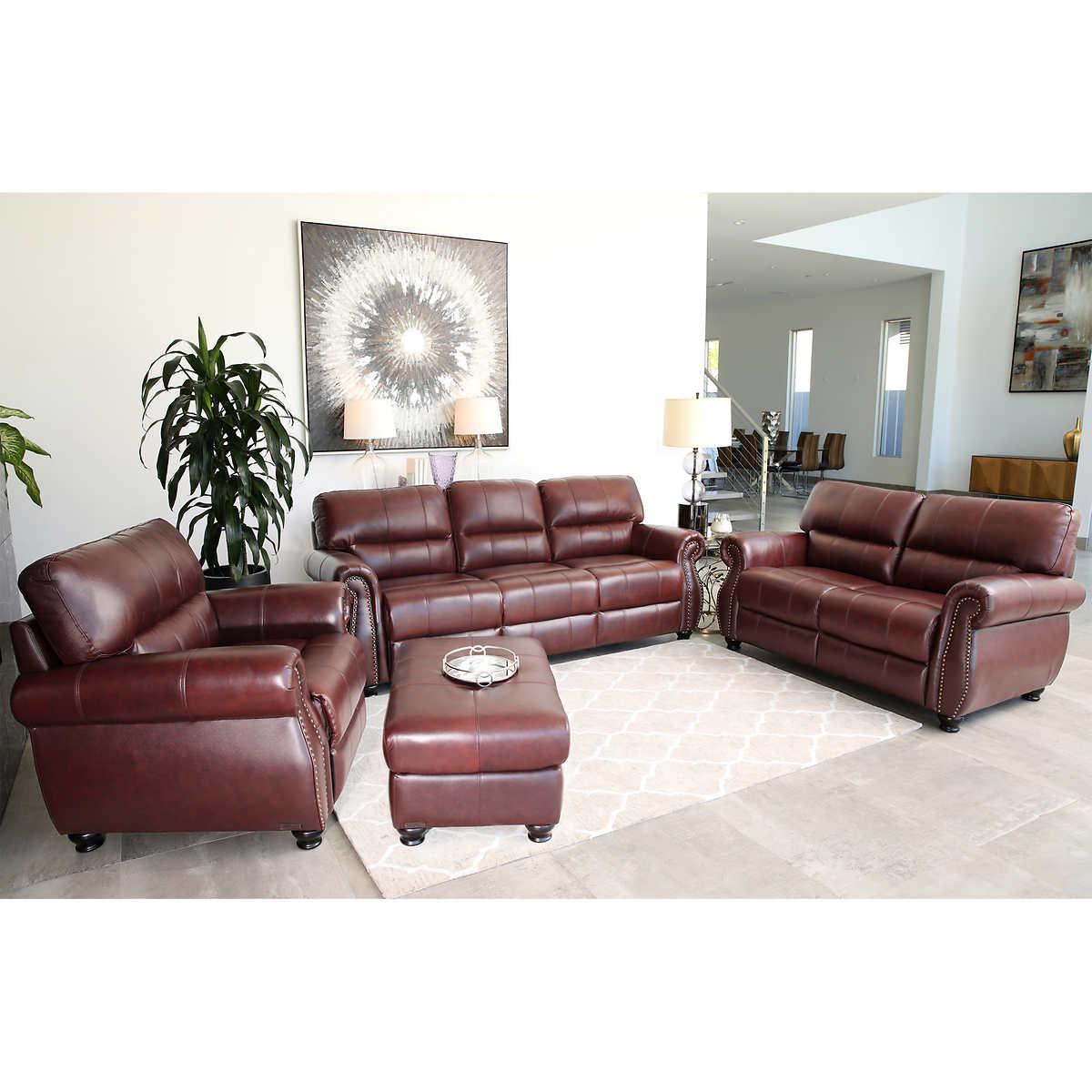 Lorenzo 4-piece Leather Living Room Set