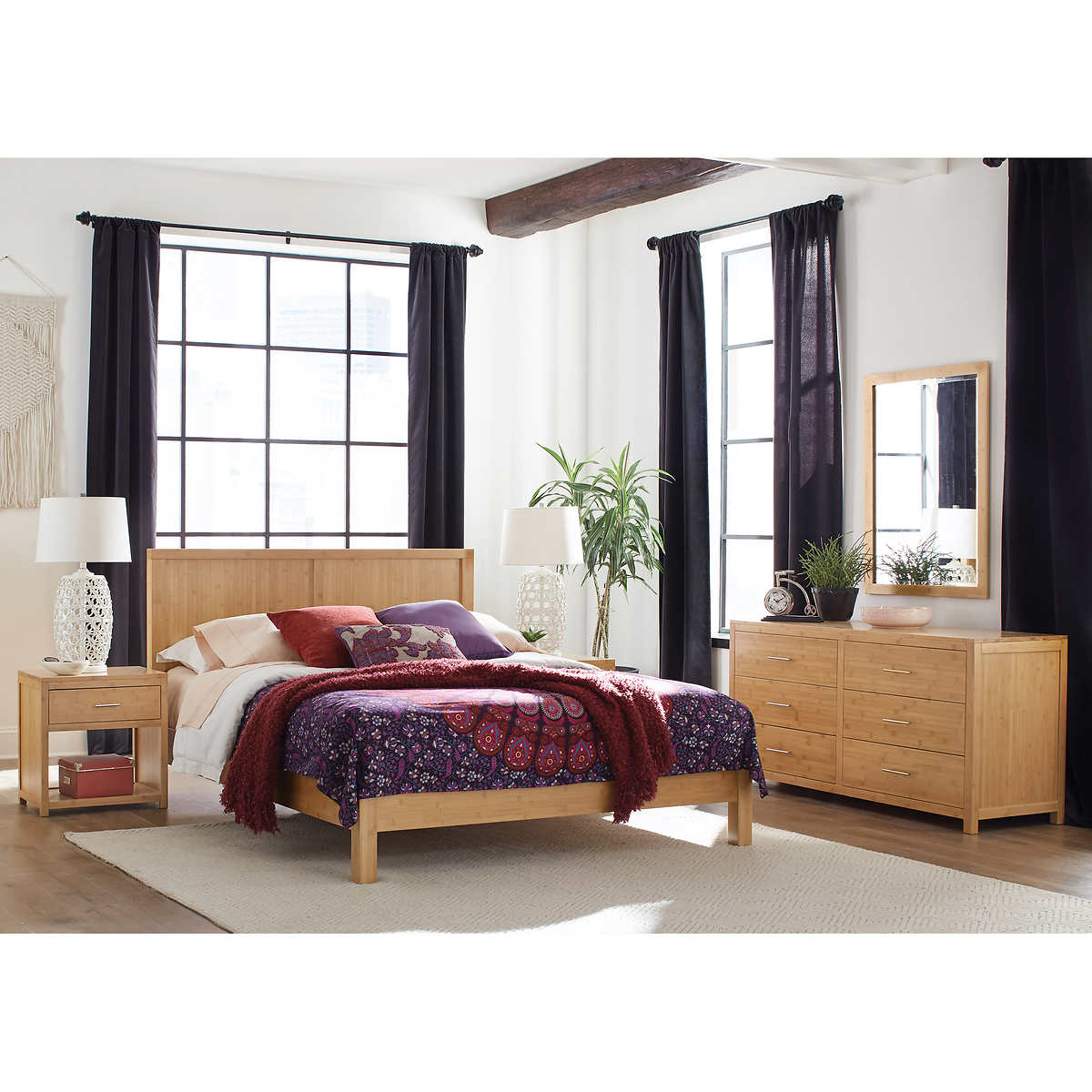 queen bedroom sets  costco - aniko piece queen bamboo bedroom set