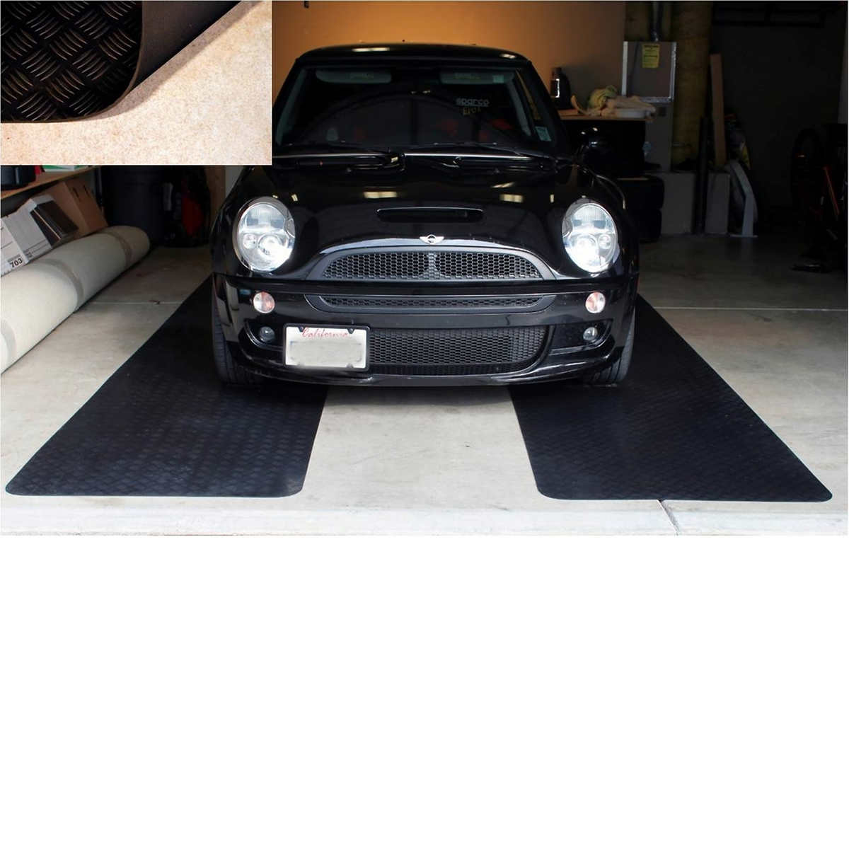 coin mat midnight g black x in w covering l a sqft rollout garage barn flooring mil pattern floor used