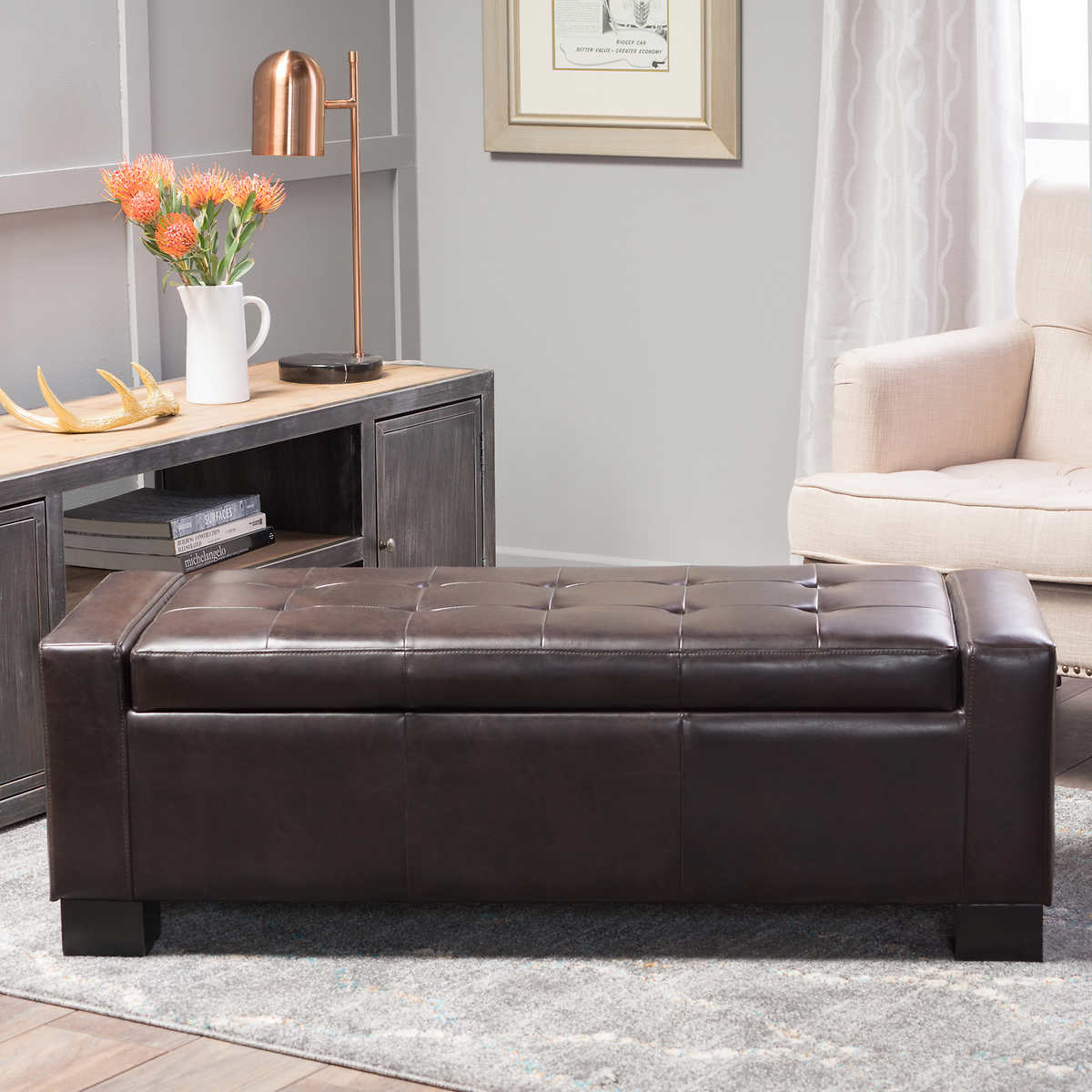 Ravello Bonded Leather Storage Bench - Ottomans & Benches Costco