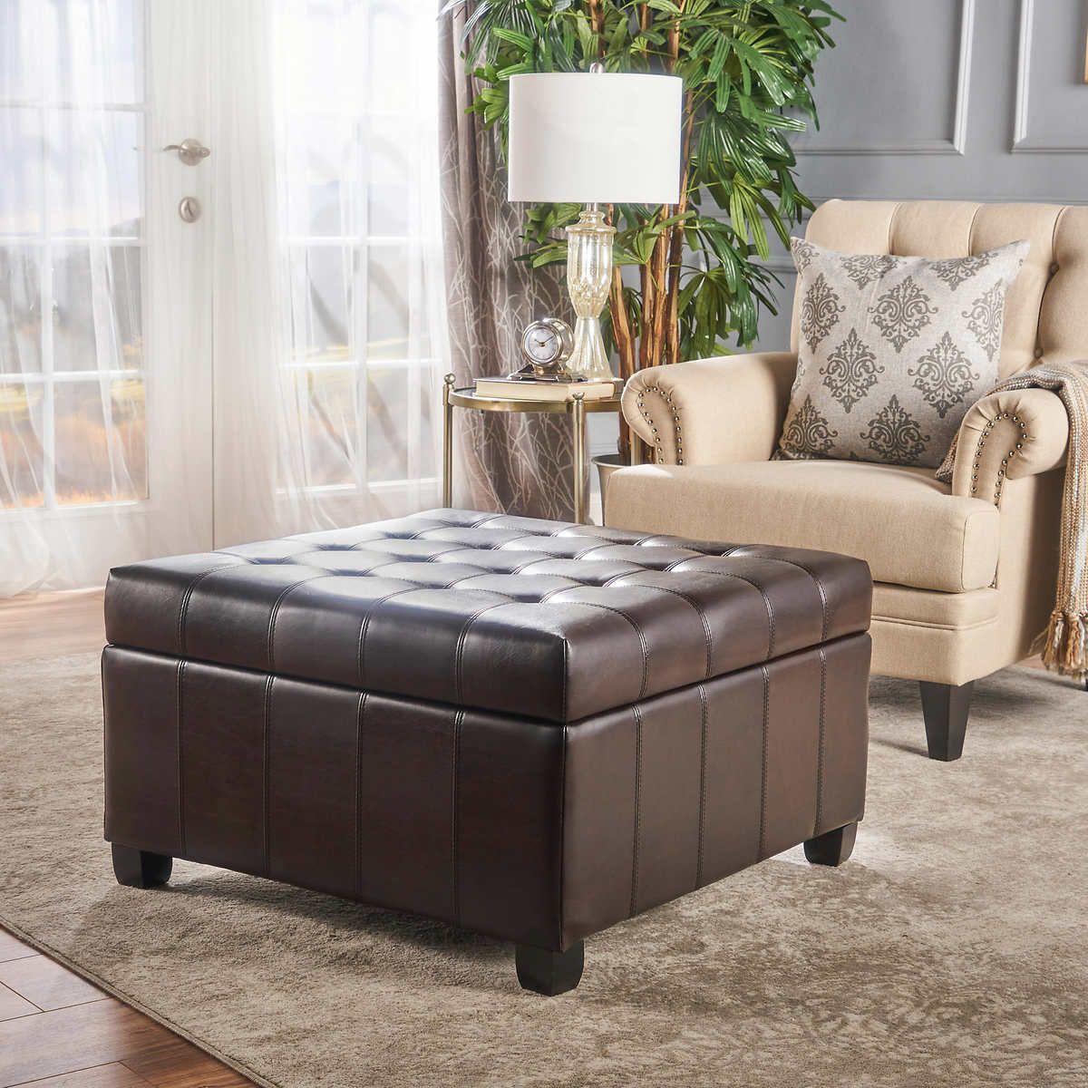 Ottoman turns into chair - Isabella Bonded Leather Storage Ottoman