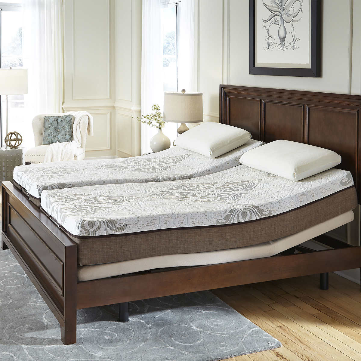 sleep science marina 10 split cal king memory foam mattress with adjustable base