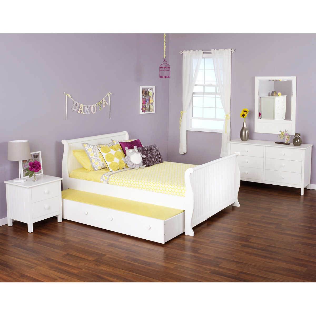 White bedroom sets - Olivia 4 Piece Full Sleigh Bed With Trundle Bed Set