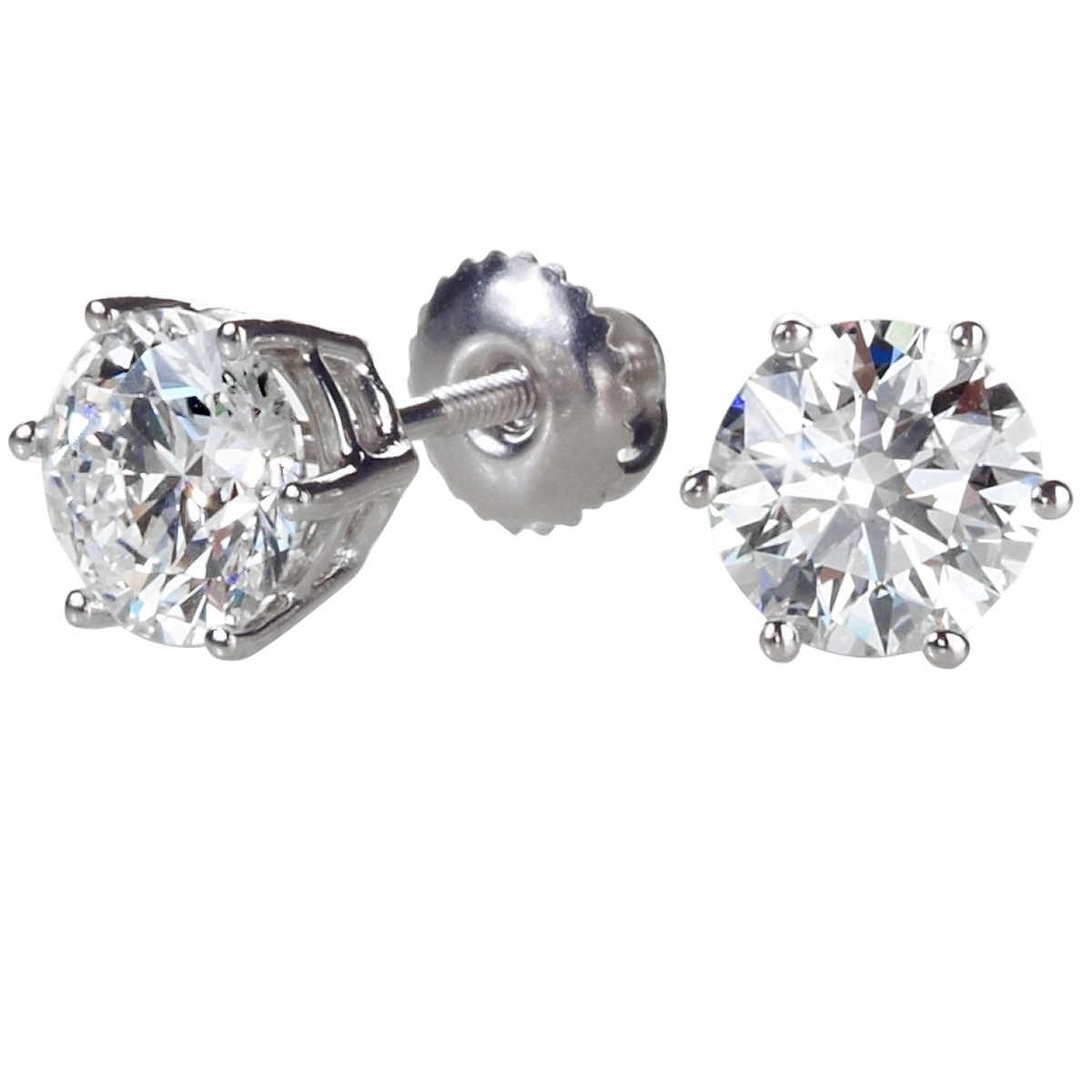 Round Brilliant 200 Ctw Vs2 Clarity, I Color Diamond Platinum Screwback Stud  Earrings