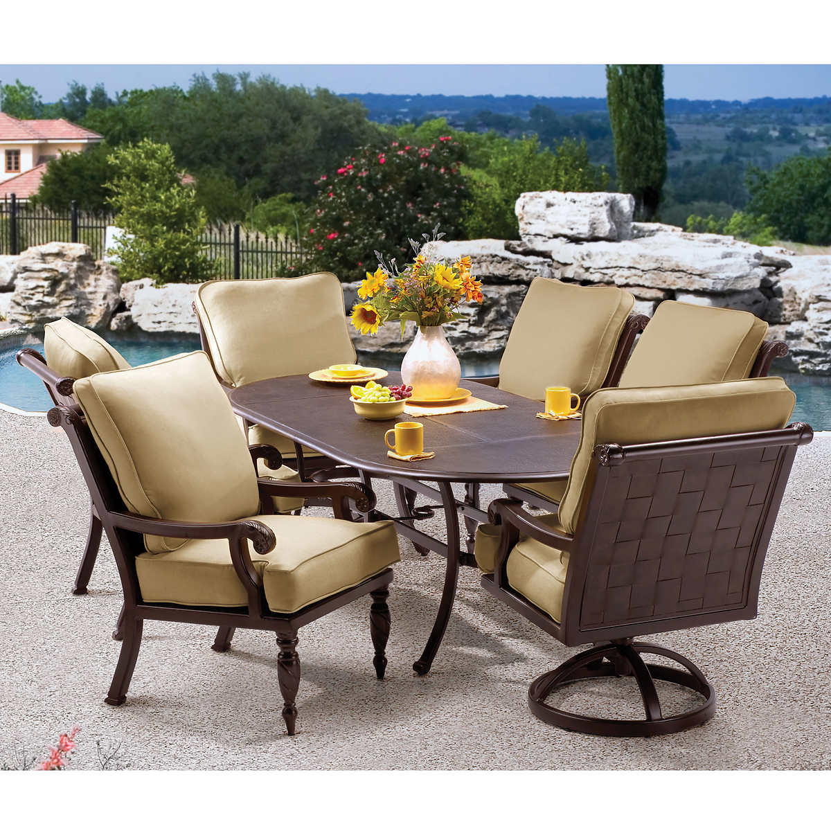 villa 7 piece cushioned patio dining set dining sets costco