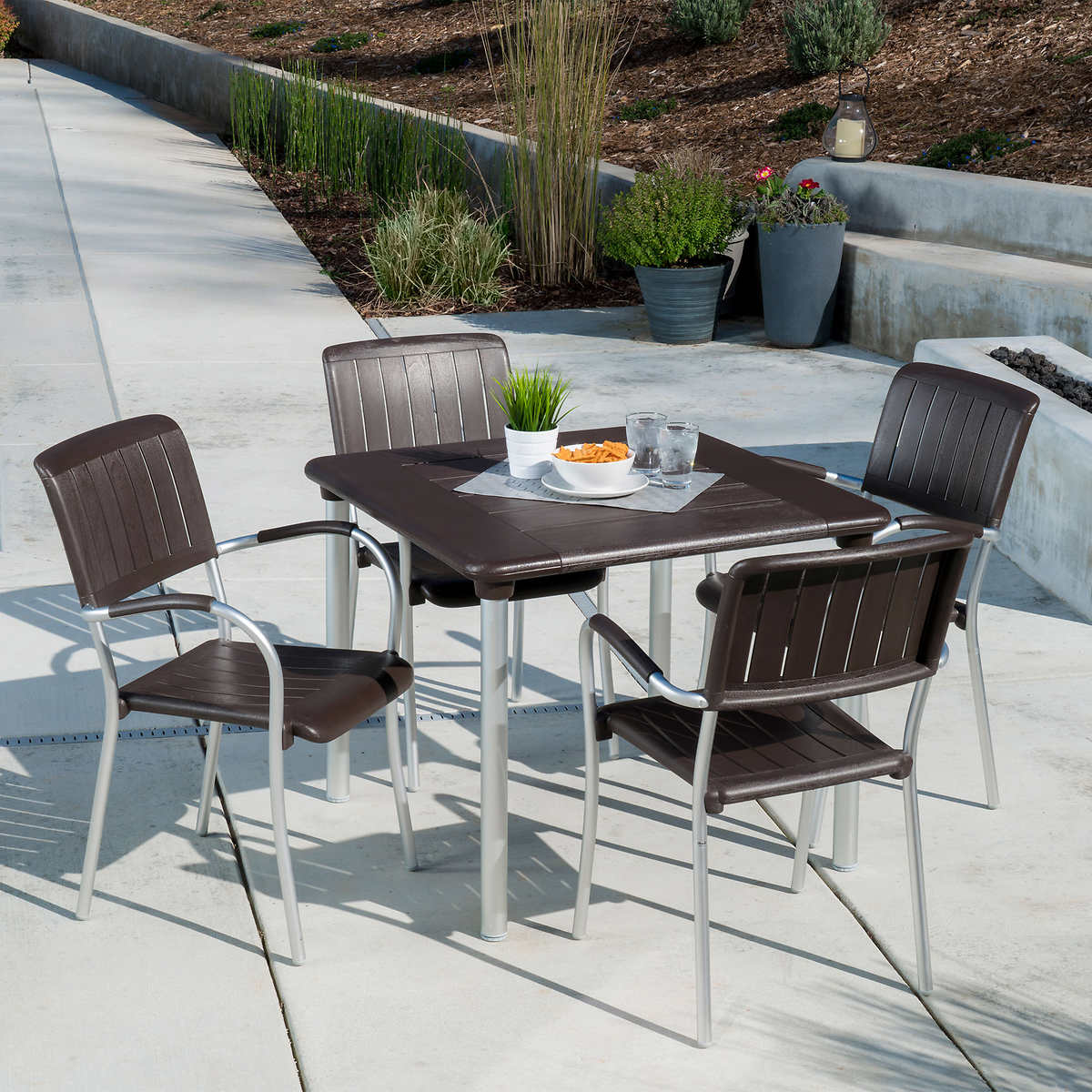 Musa 5-piece Commercial Dining Set in Caffe by Nardi - Commercial Patio Furniture Costco
