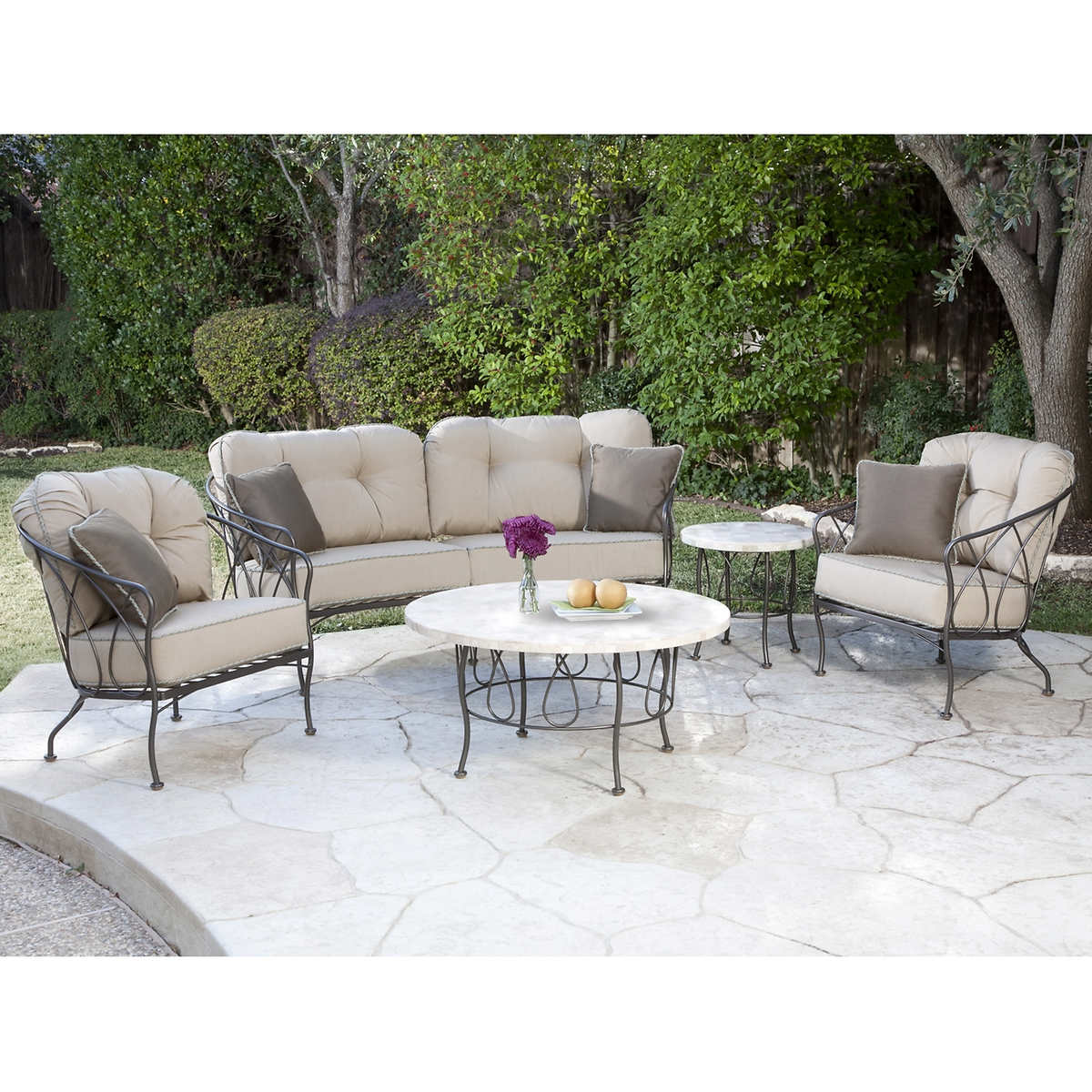 Furniture swivel and tub chairs dori fabric swivel cuddle chair - Medina 5 Piece Patio Cuddle Chat Collection