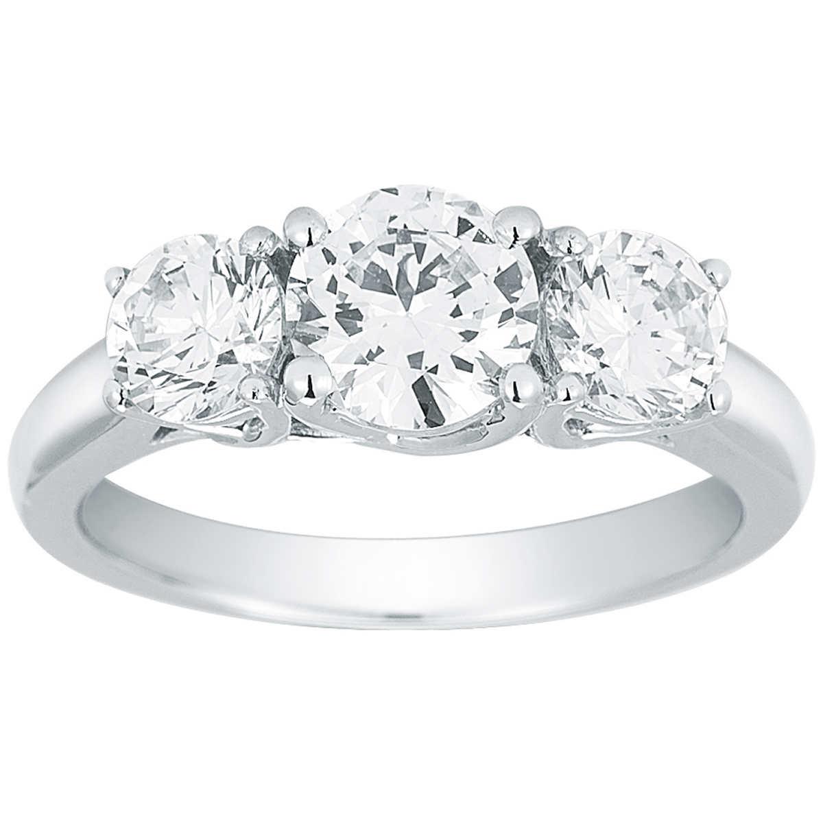 Round Brilliant 200 Ctw Vs2 Clarity, I Color Diamond Platinum Three Stone  Ring