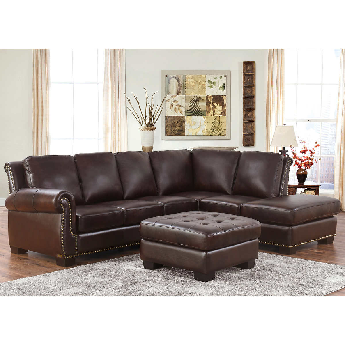 Fabulous Encore Top Grain Leather Sectional And Ottoman Living Room Set Ibusinesslaw Wood Chair Design Ideas Ibusinesslaworg