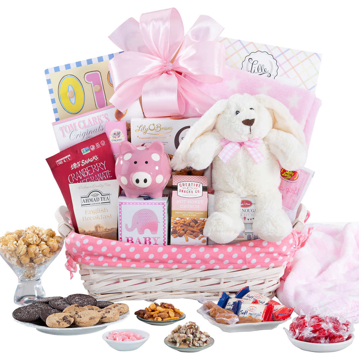 New arrival baby boy gift basket member only item new arrival baby girl gift basket negle Image collections