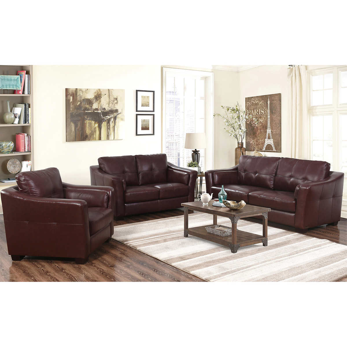 Florentine 3-piece Top Grain Leather Living Room Set