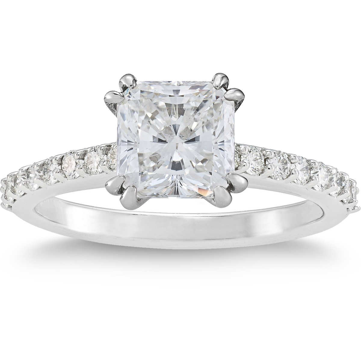 371 Ctw Radiant Cut Vvs2 Clarity, H Color Diamond Platinum Ring