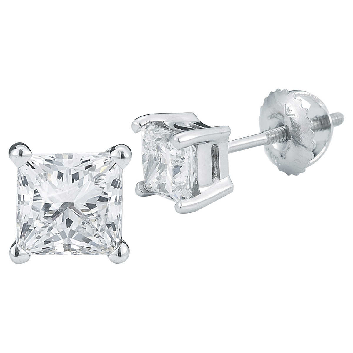Princess Cut 160 Ctw Vs2 Clarity, I Color Diamond 14kt White Gold  Screwback Stud Earrings