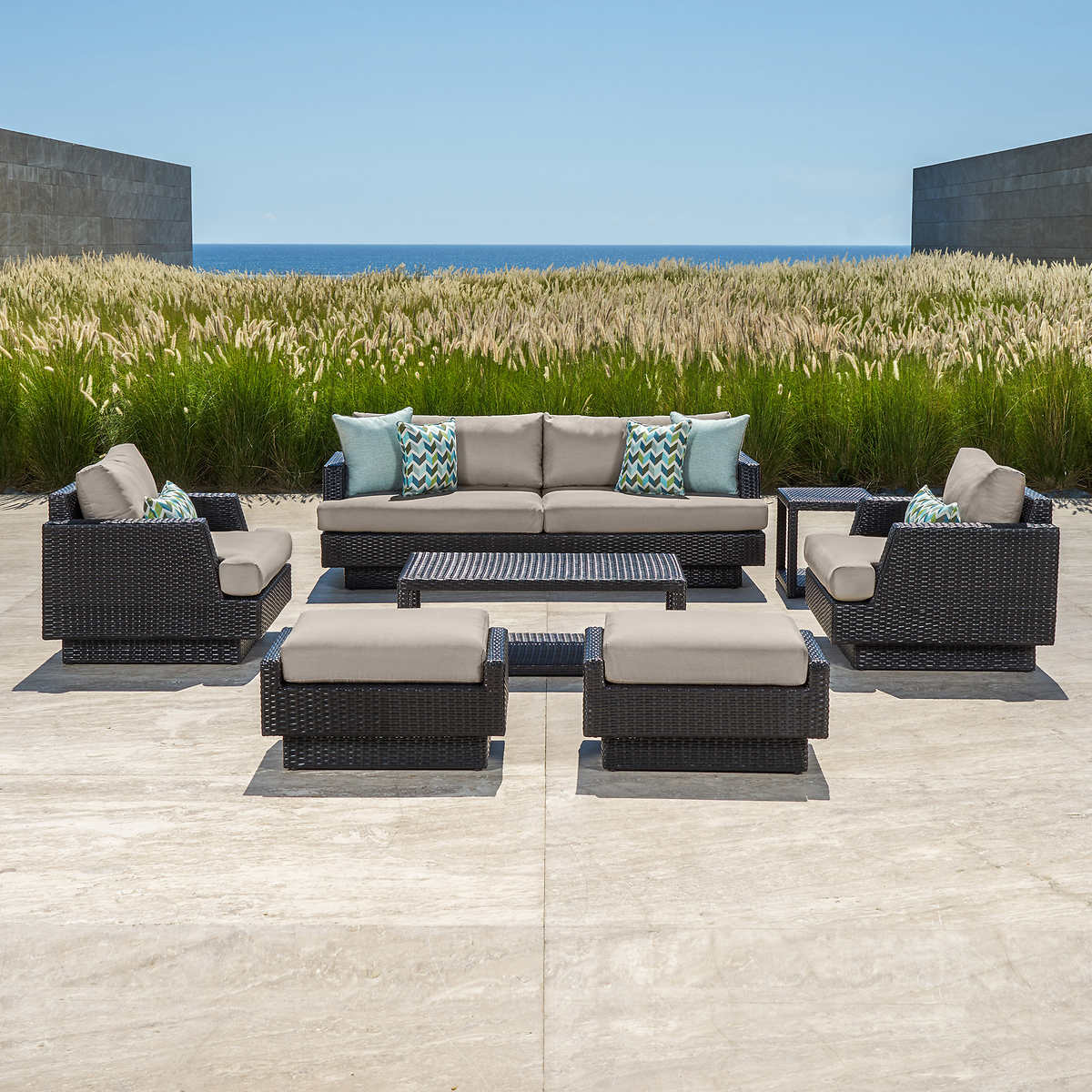 Portofino Comfort 7-piece Seating Set in Espresso Taupe - Portofino Costco