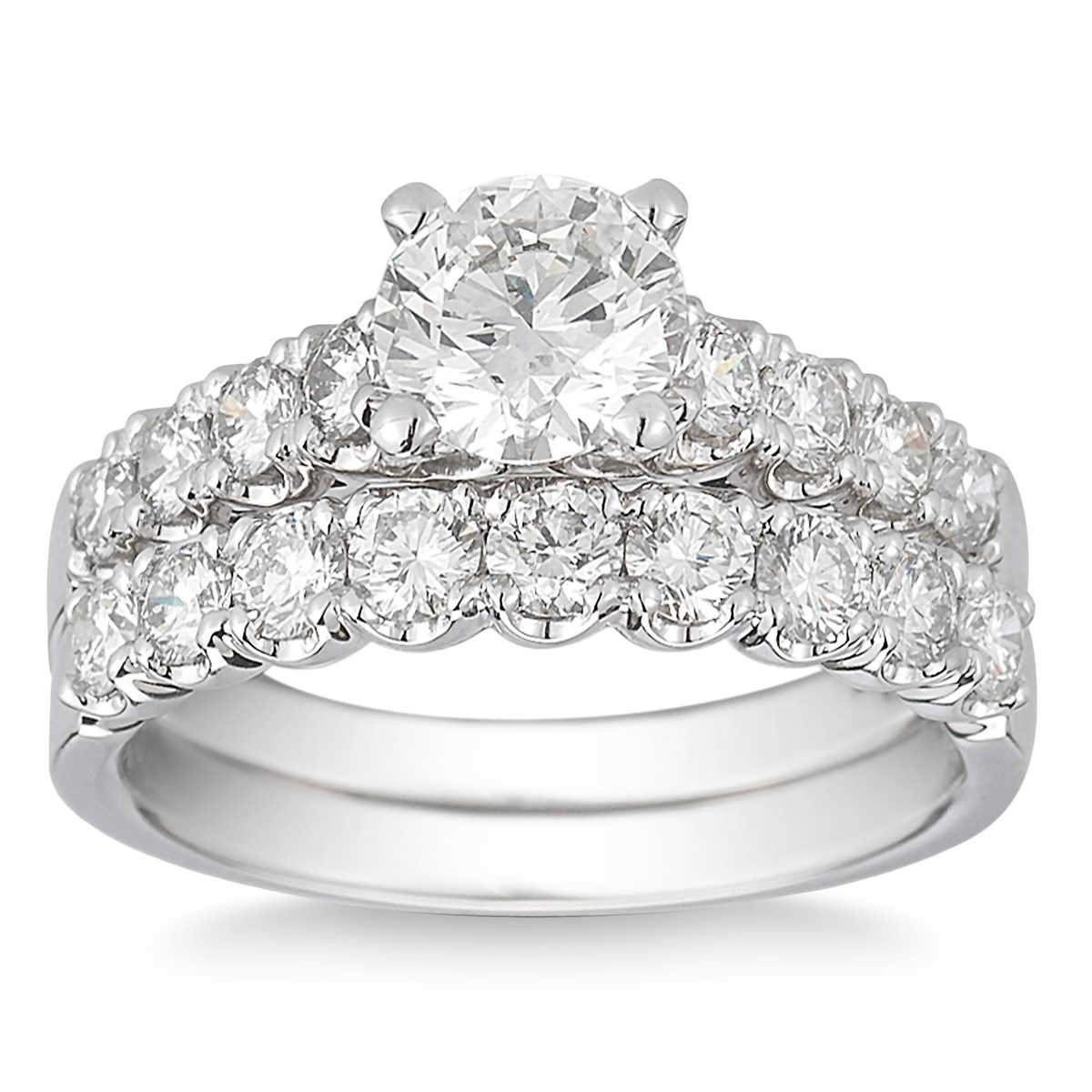 Round Brilliant 210 Ctw Vs2 Clarity, I Color Diamond Platinum Wedding Set
