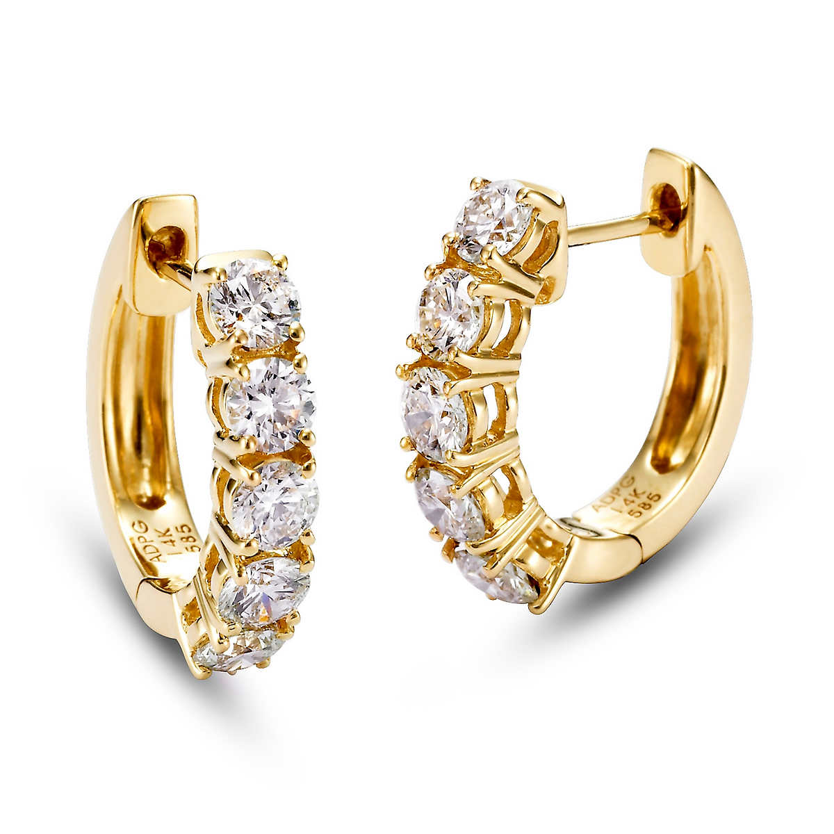 Round Brilliant 145 Ctw Vs2 Clarity, I Color Diamond 14kt Yellow Gold  5stone