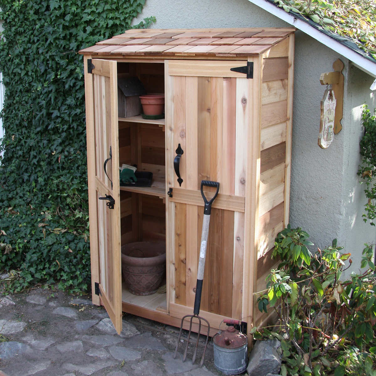4 x 2 cedar garden storage shed