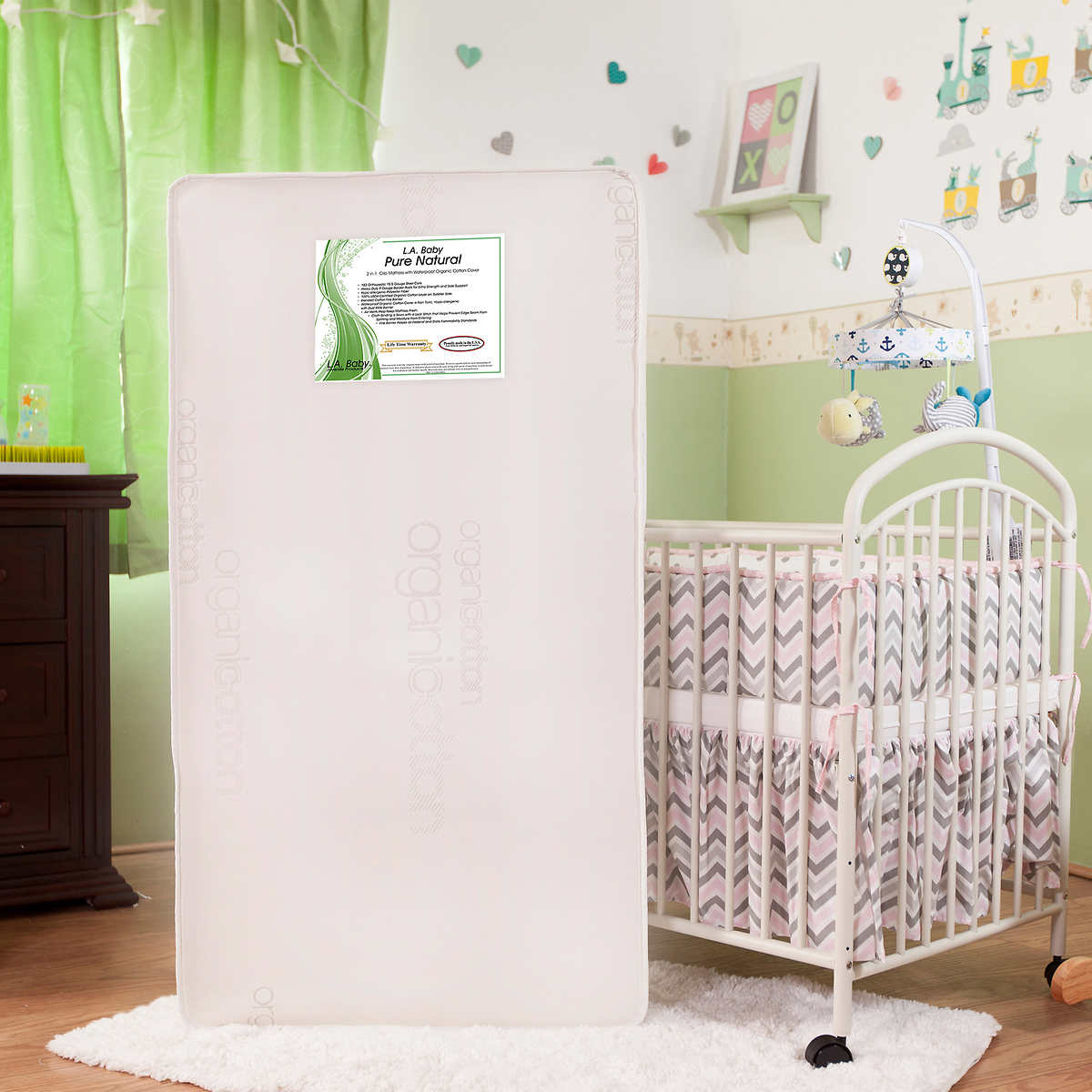 L. A. BABY Pure Natural 2-in-1 Crib Mattress