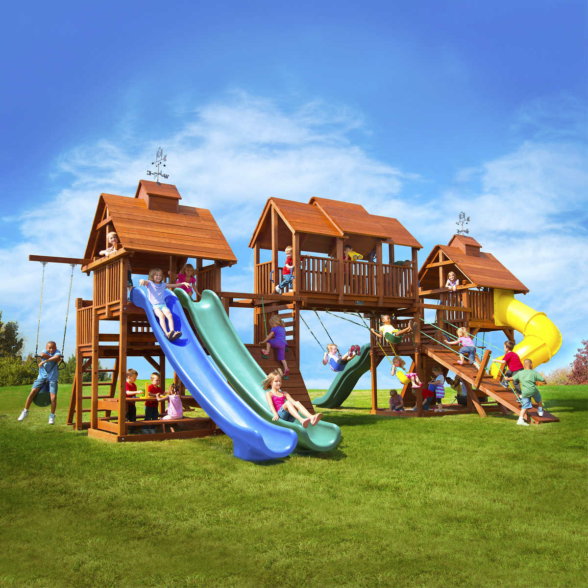 Kids creations adventure mountain redwood playset installation included