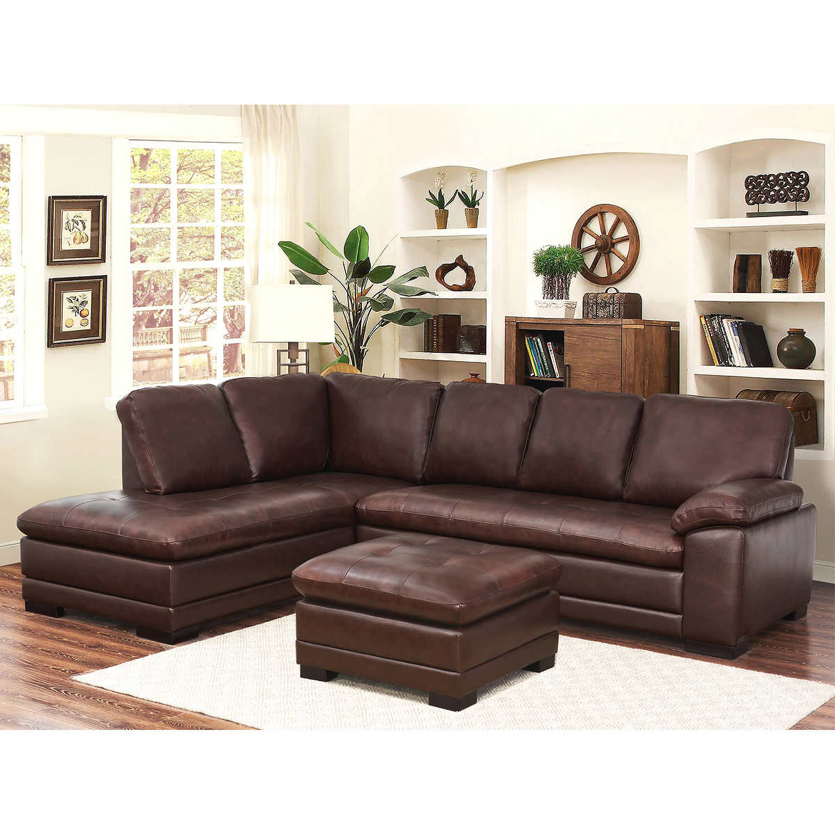 Metropolitan Top Grain Leather Sectional and Ottoman Living Room Set. Leather Sofas   Sectionals   Costco