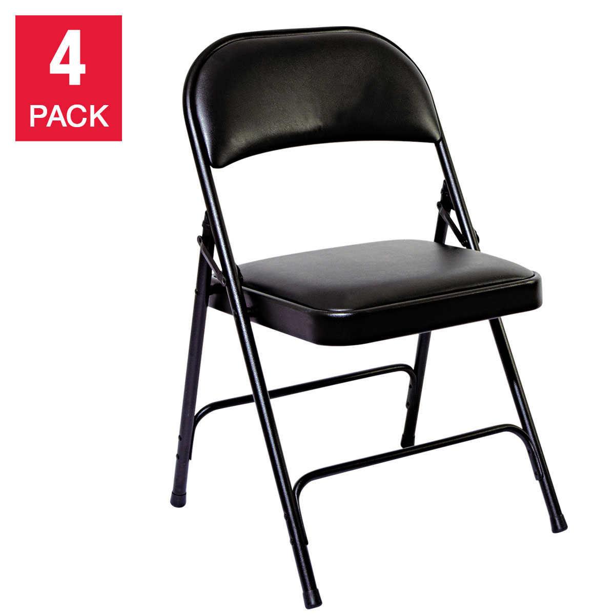 Alera Steel Folding Chair W Padded Seat Graphite 4 Pack