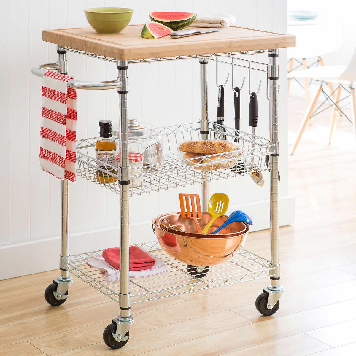 TRINITY EcoStorage Kitchen Cart w/Bamboo Cutting Board
