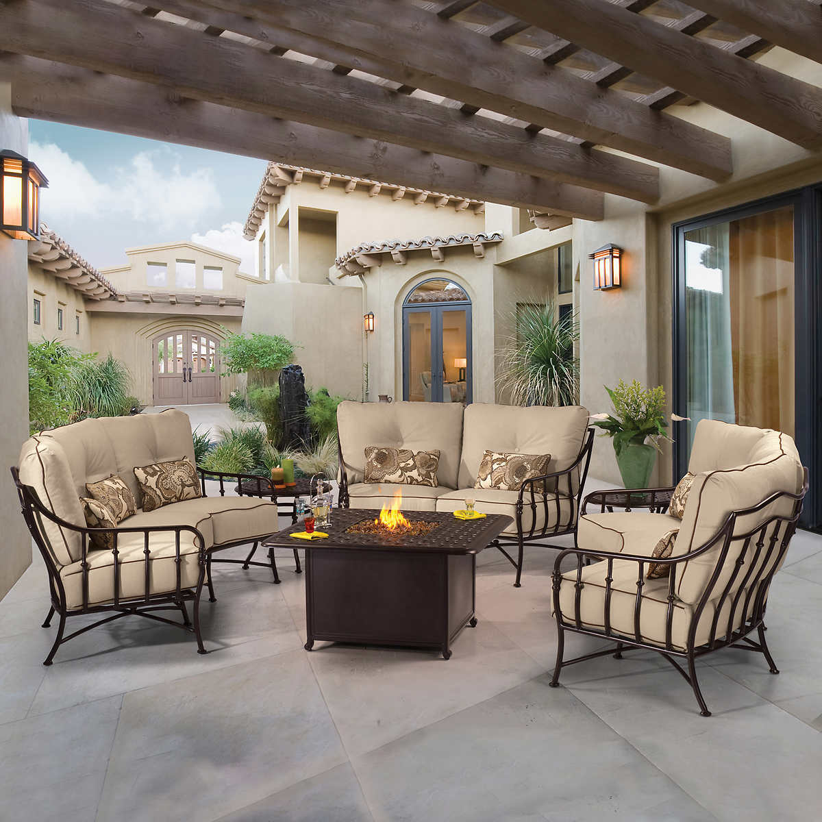 Cortez 6-piece Seating Set with Fire - Fire Pits & Chat Sets