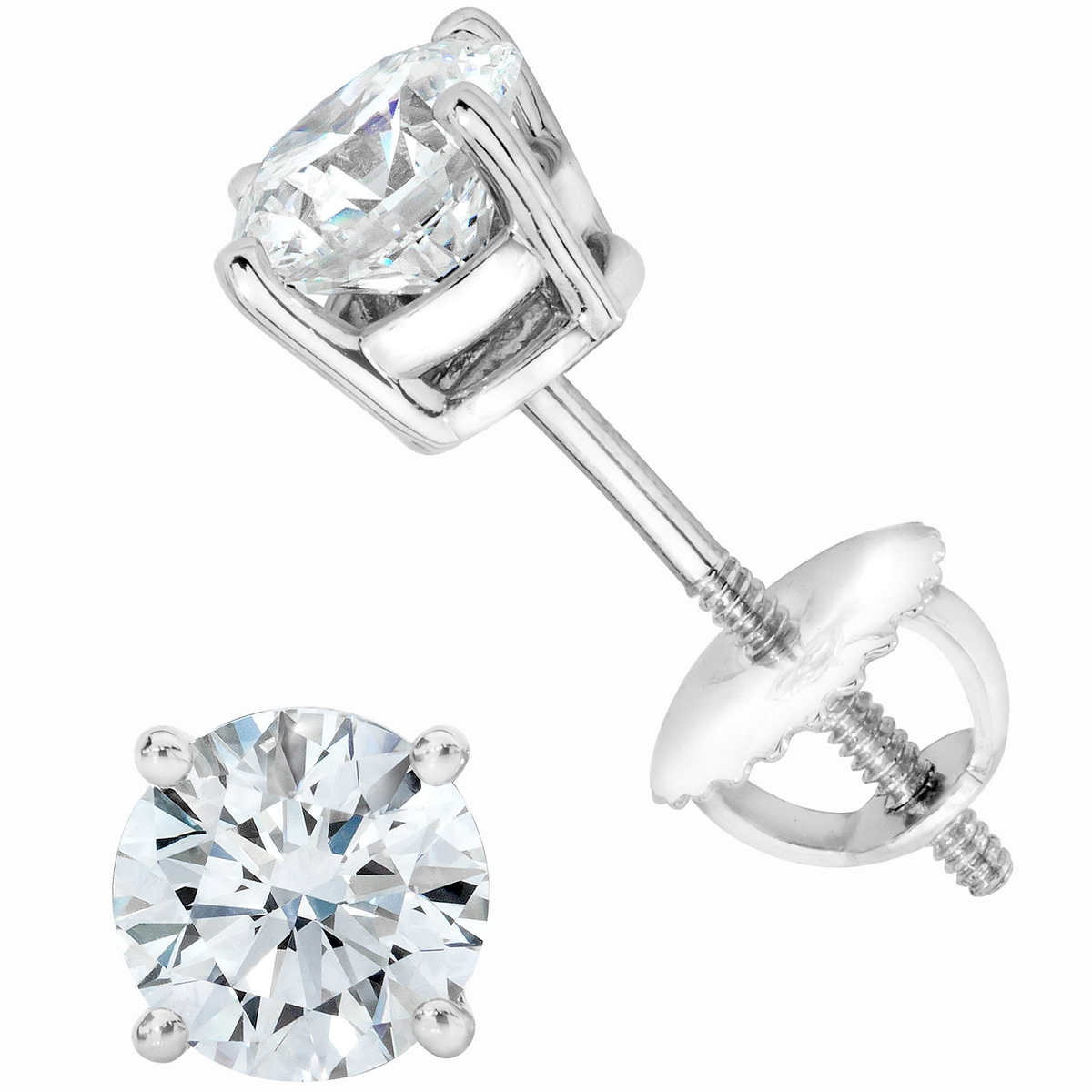 Round Brilliant 120 Ctw Vs2 Clarity, I Color Diamond 14kt White Gold  Screwback Stud Earrings