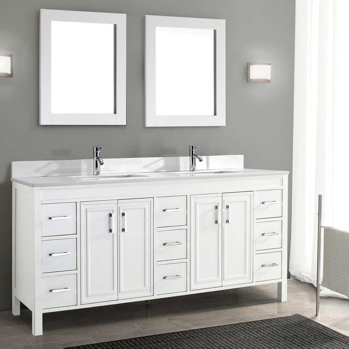 5 foot double vanity.  Corniche 75 White Double Sink Vanity By Studio Bathe