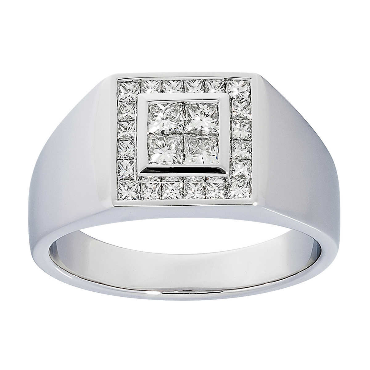 princess cut 095 ctw vs2 clarity i color diamond 14kt white gold mens ring
