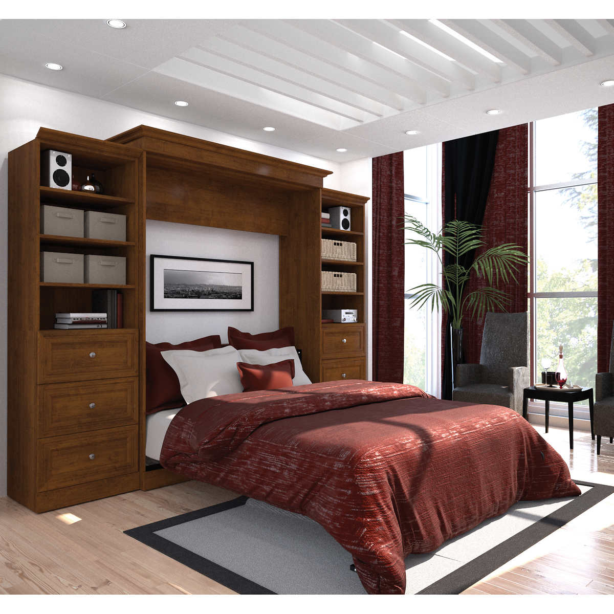 Bestar audrea queen wall bed with two 25 storage units and bestar audrea queen wall bed with two 25 storage units and drawers in tuscany amipublicfo Gallery