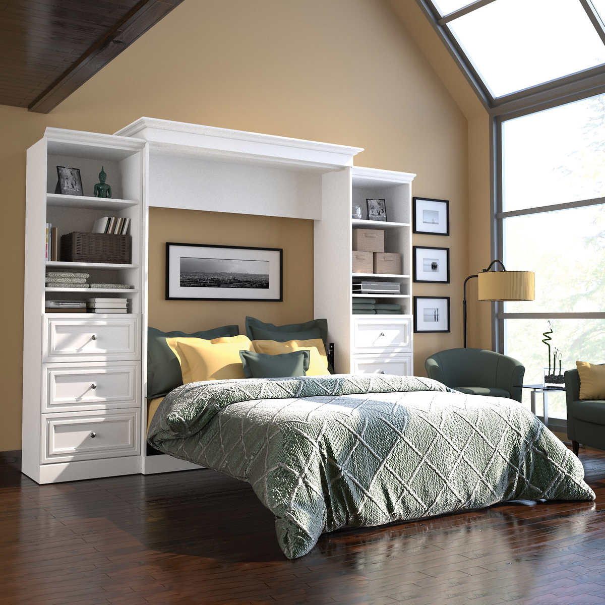 Bed frames with storage drawers - Bestar Audrea Queen Wall Bed In White With Two 25 Storage Units With Drawers
