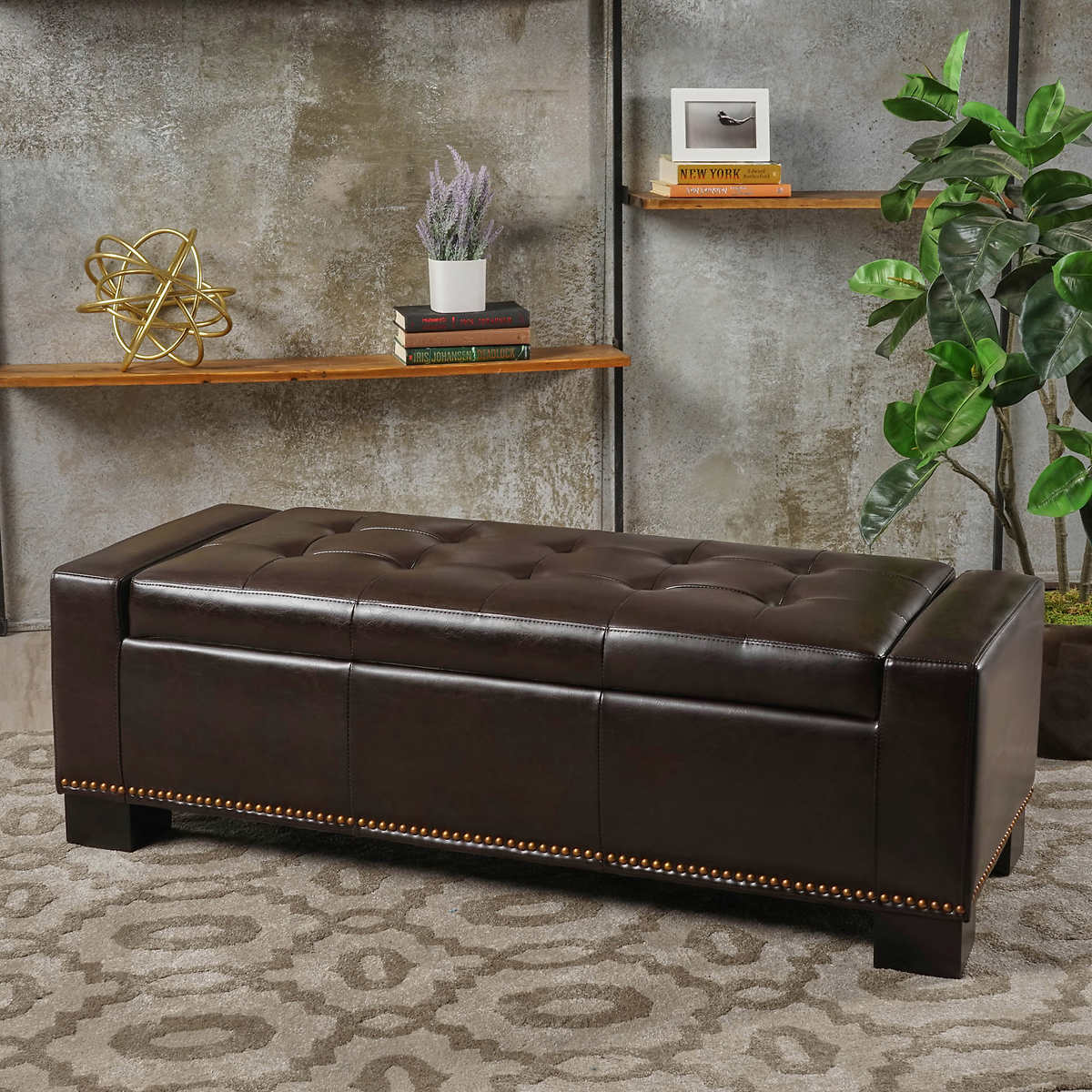 La Jolla Bonded Leather Storage Bench - Benches & Settees Costco
